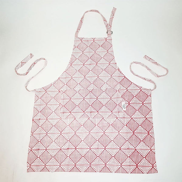 Benita Hand Block Printed Cotton Apron - Pink