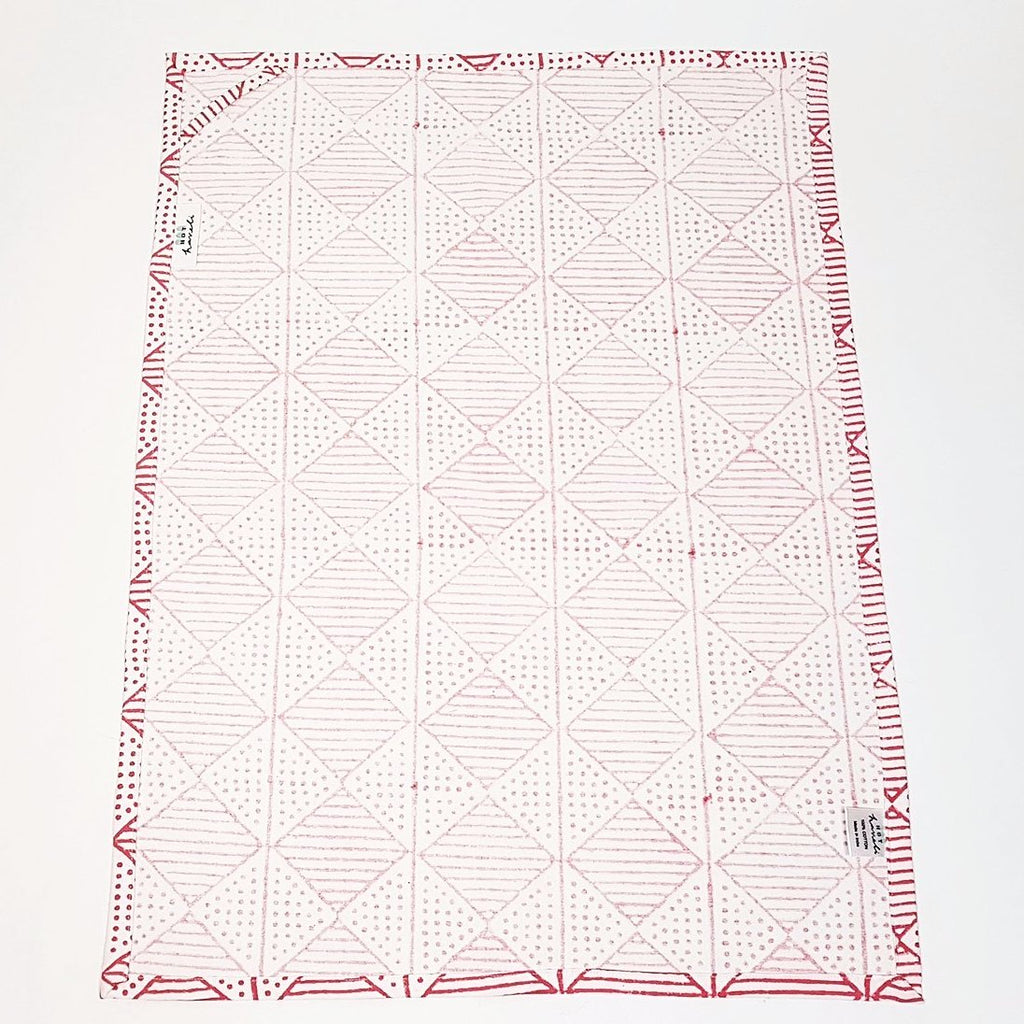 hot haveli hand block print tea towel pink reverse up