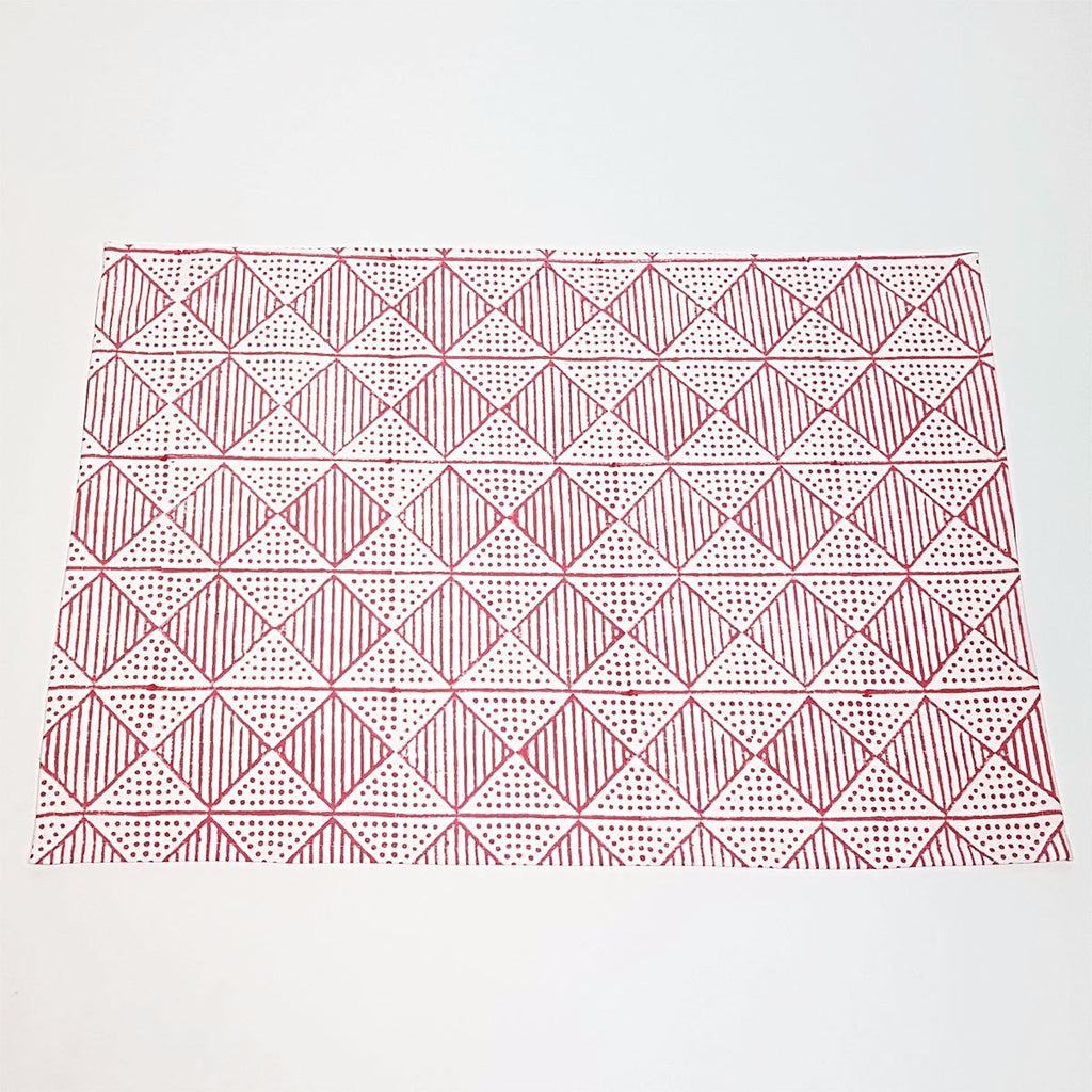 hot haveli benita hand block print tea towel pink