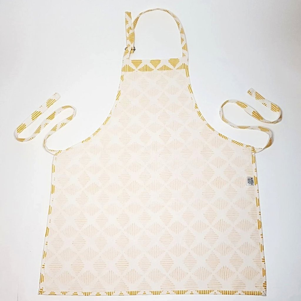 hot haveli camille hand block printed apron yellow reverse