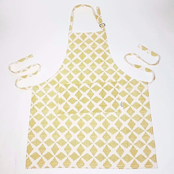 hot haveli camille hand block printed apron yellow