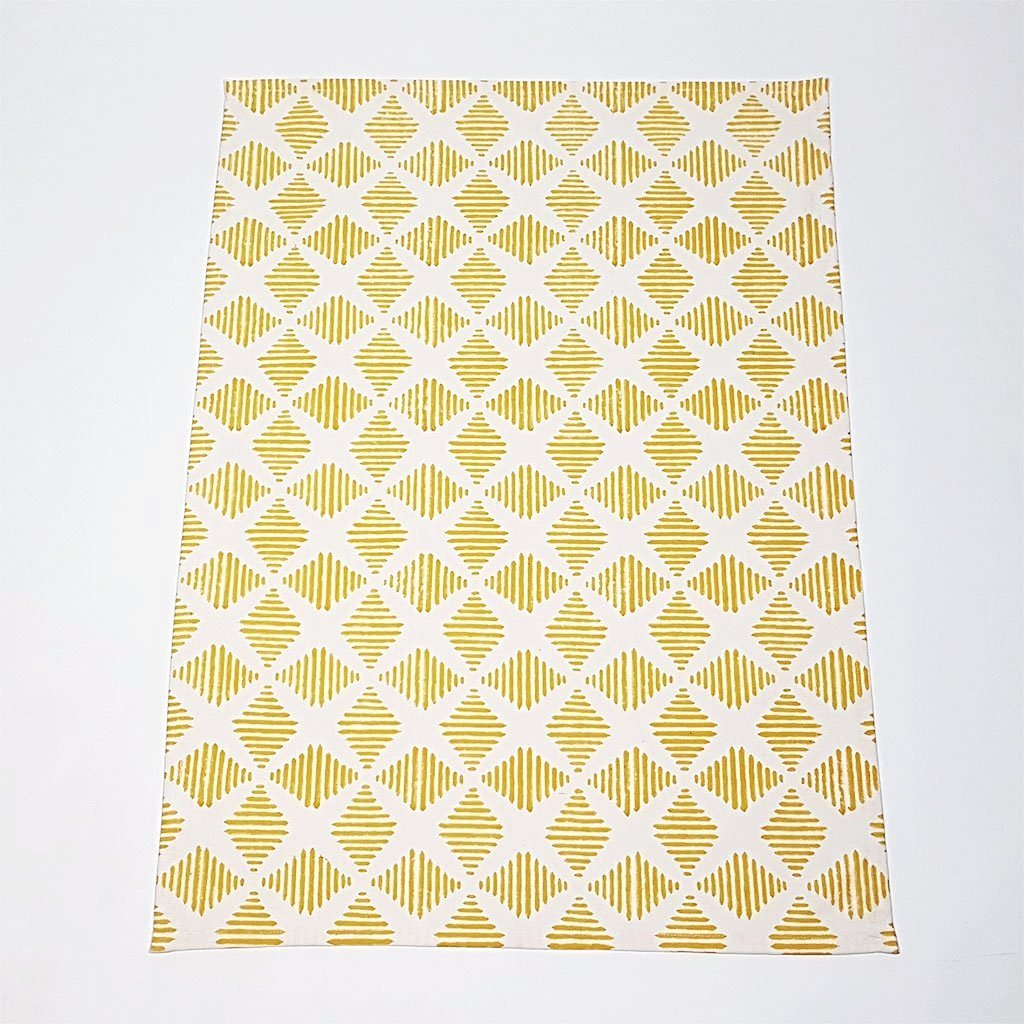 Hot Haveli camille hand block print tea towel yellow upright
