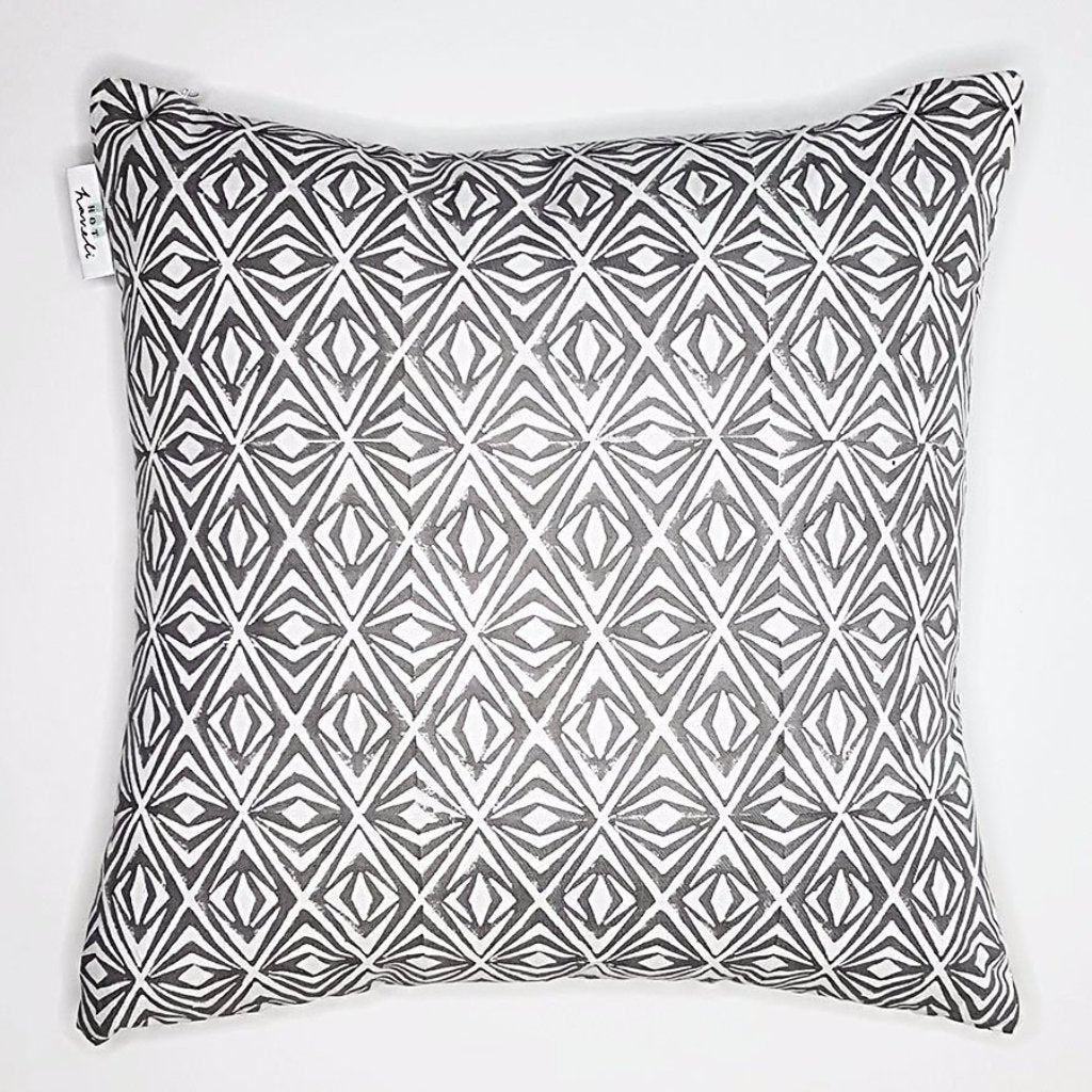 hot haveli dina block print geo grey cotton cushion