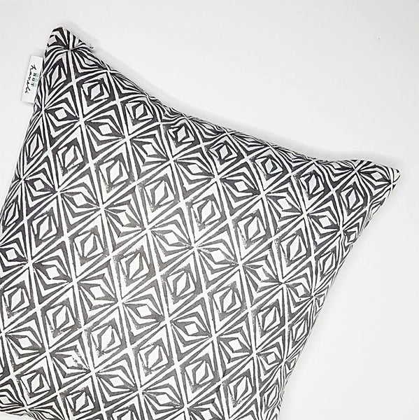 hot haveli dina block print geo grey cotton cushion side