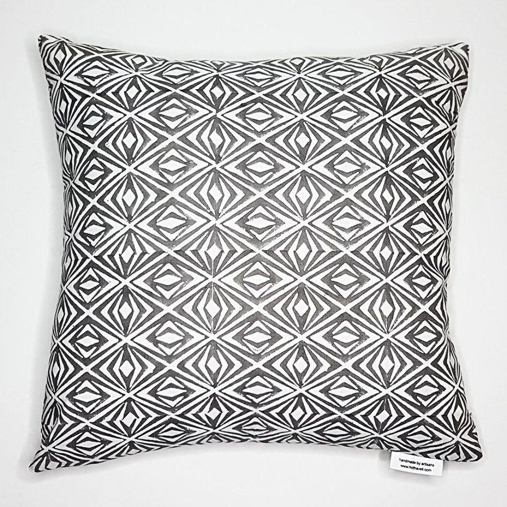 hot haveli dina block print geo grey cotton cushion back