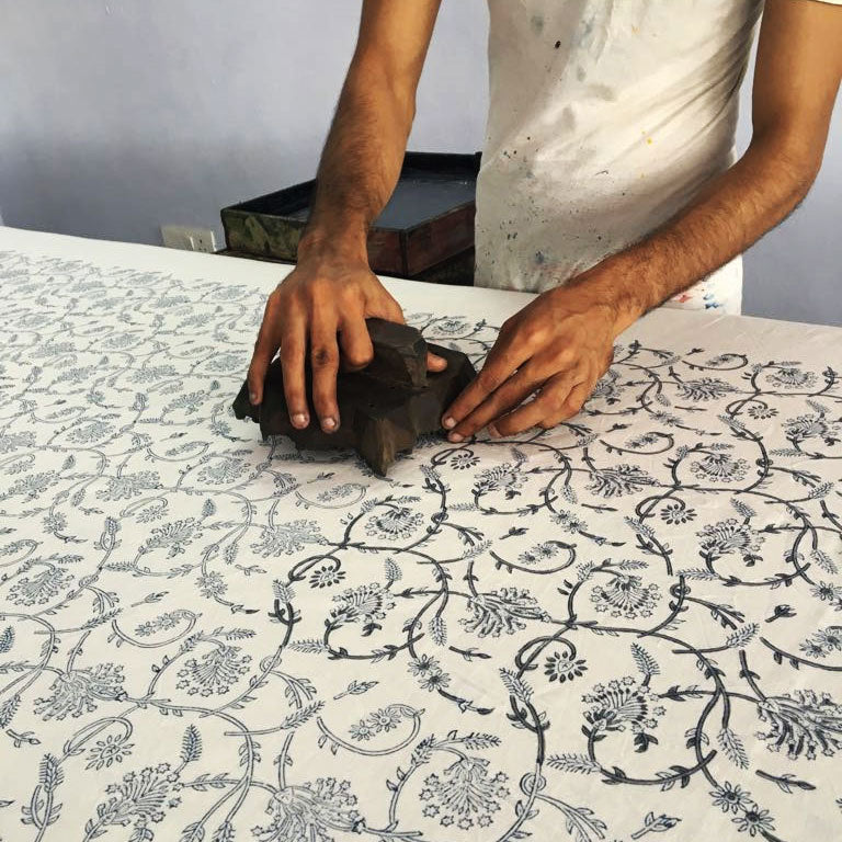 hot haveli doris hand block print design in the making