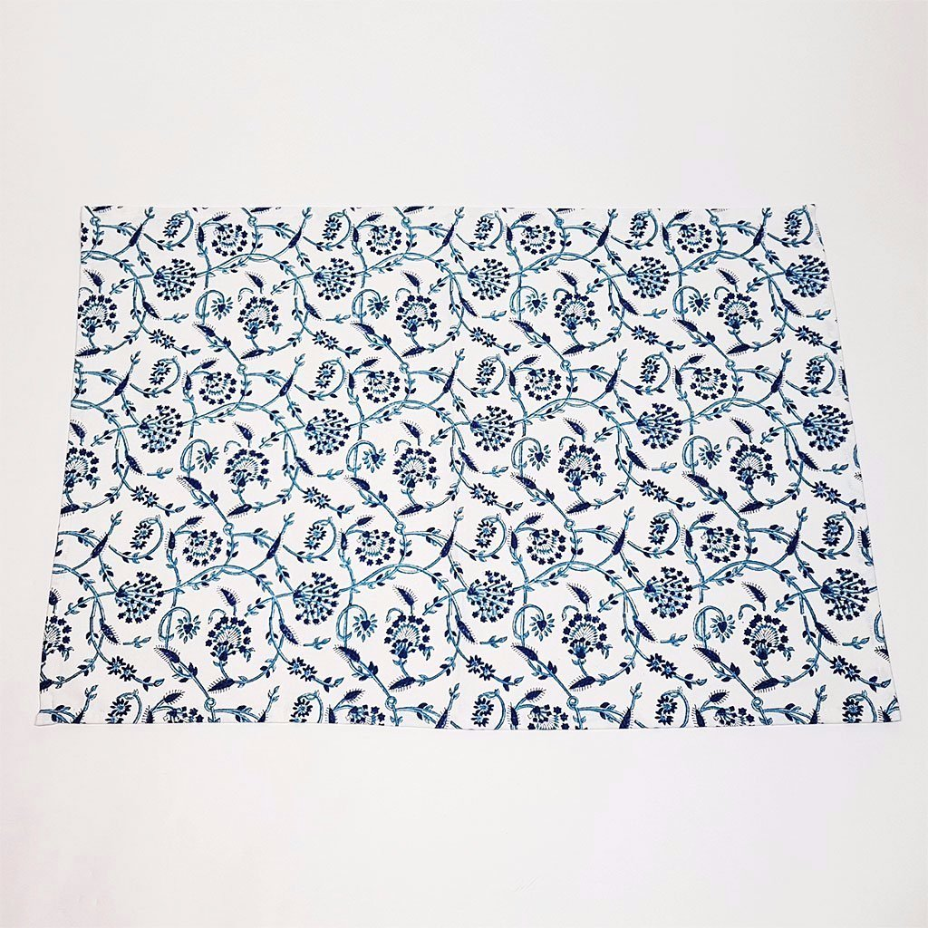 hot haveli doris hand block printed tea towel blue