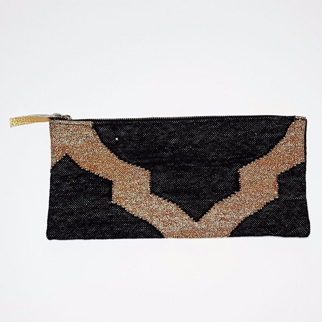 hot haveli eartha dhurrie clutch black and gold reverse