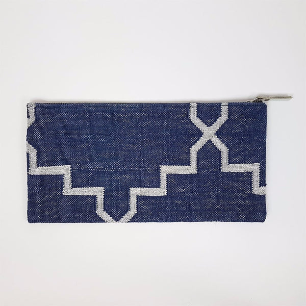 hot haveli eartha dhurrie clutch indigo and silver