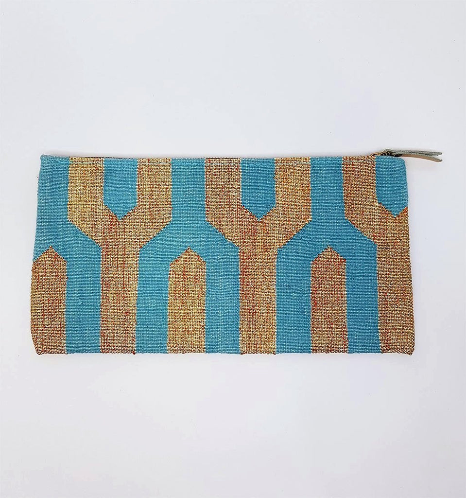 hot haveli eartha dhurrie clutch turquoise and gold back