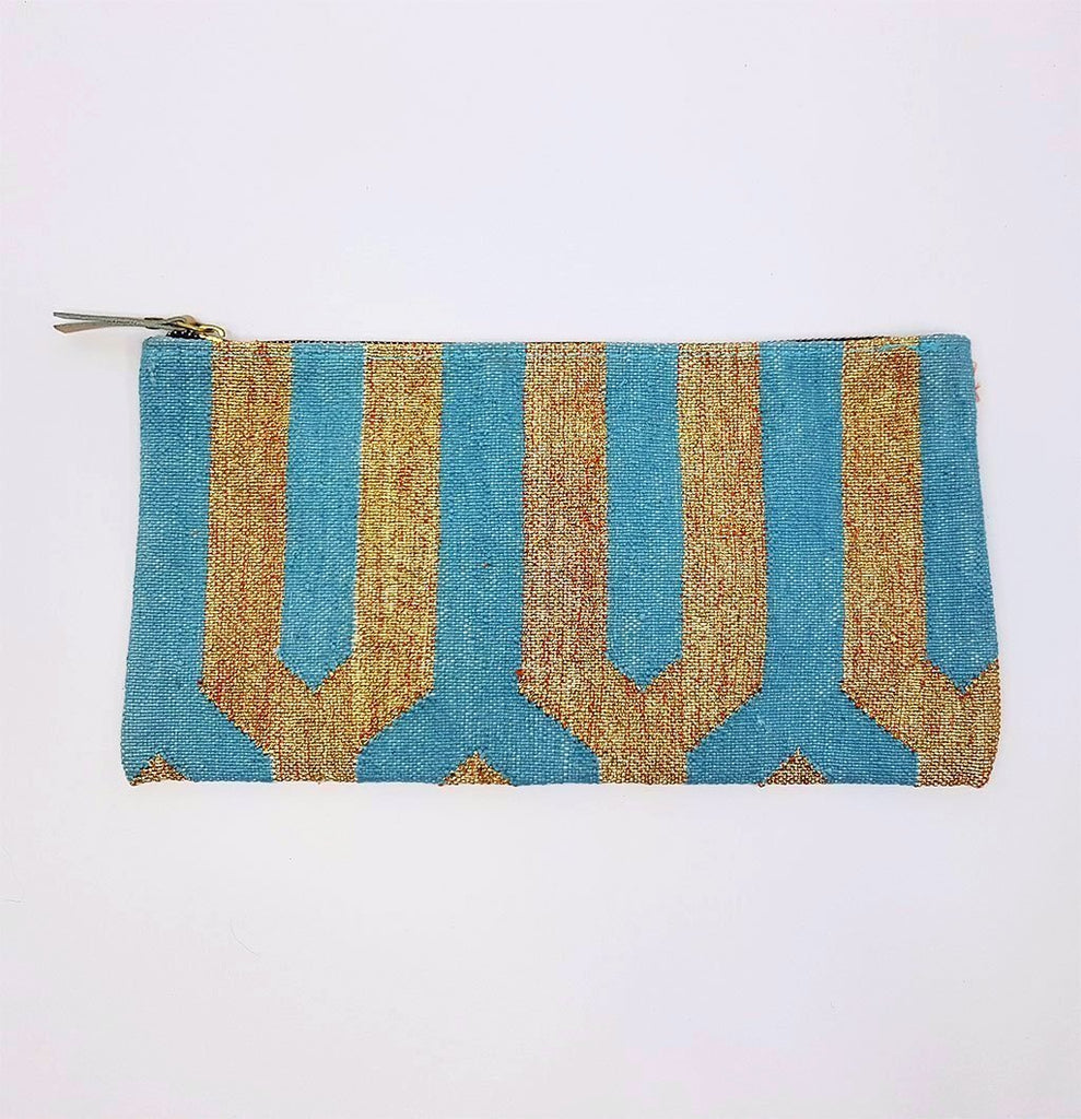hot haveli eartha dhurrie clutch turquoise and gold