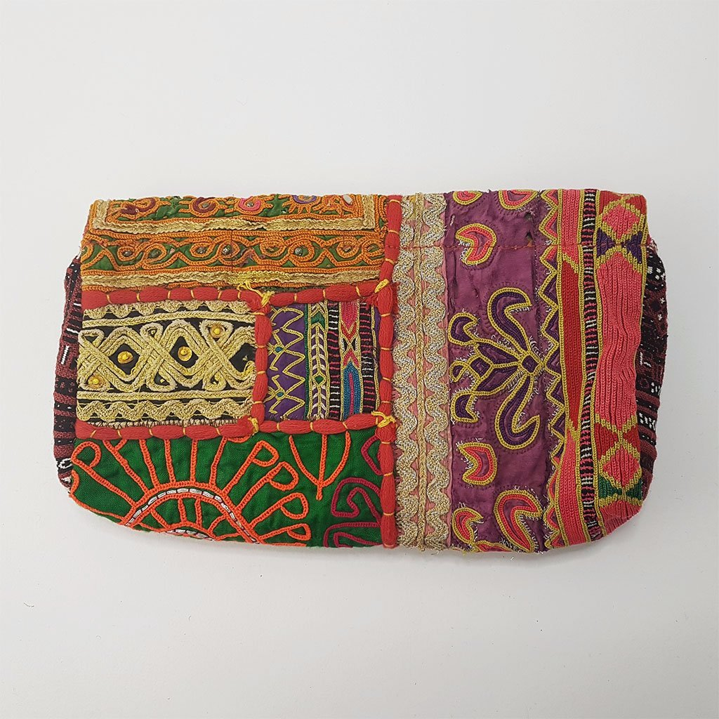 hot haveli estany vintage tribal clutch bag back