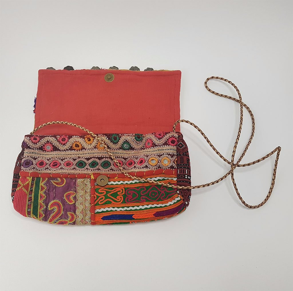 hot haveli estany vintage tribal clutch bag open