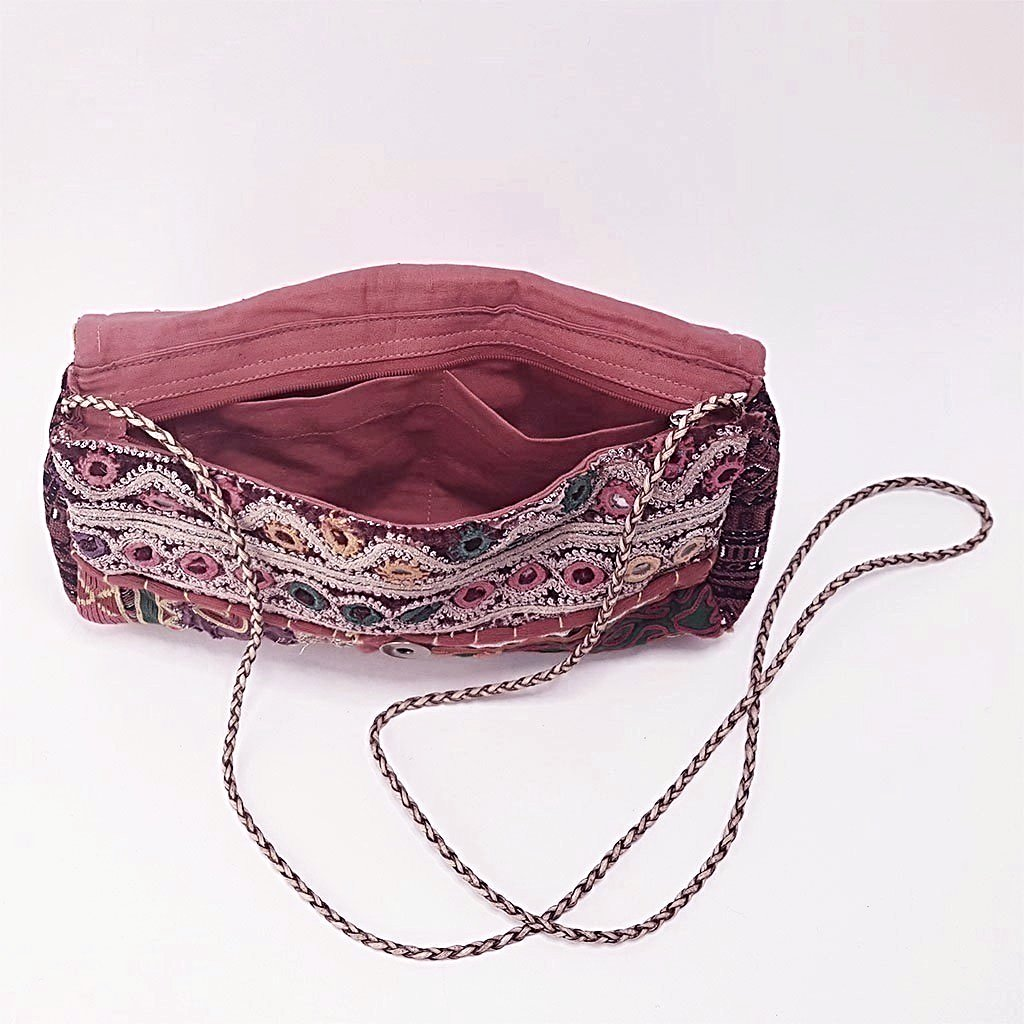 hot haveli estany vintage tribal clutch bag inside