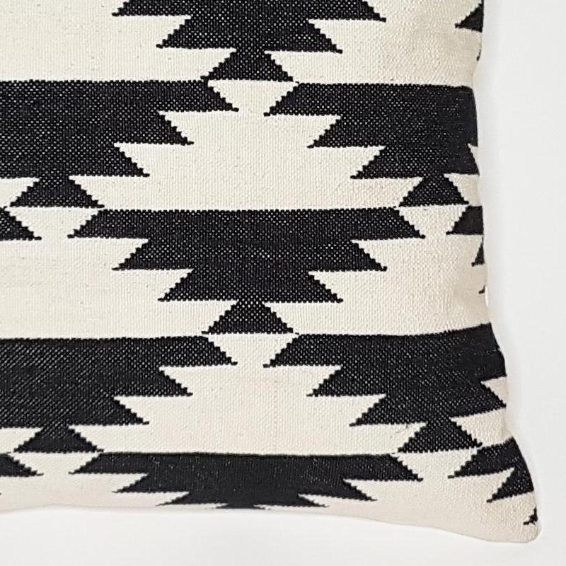 fabia  handwoven dhurrie monochrome cotton cushion close up