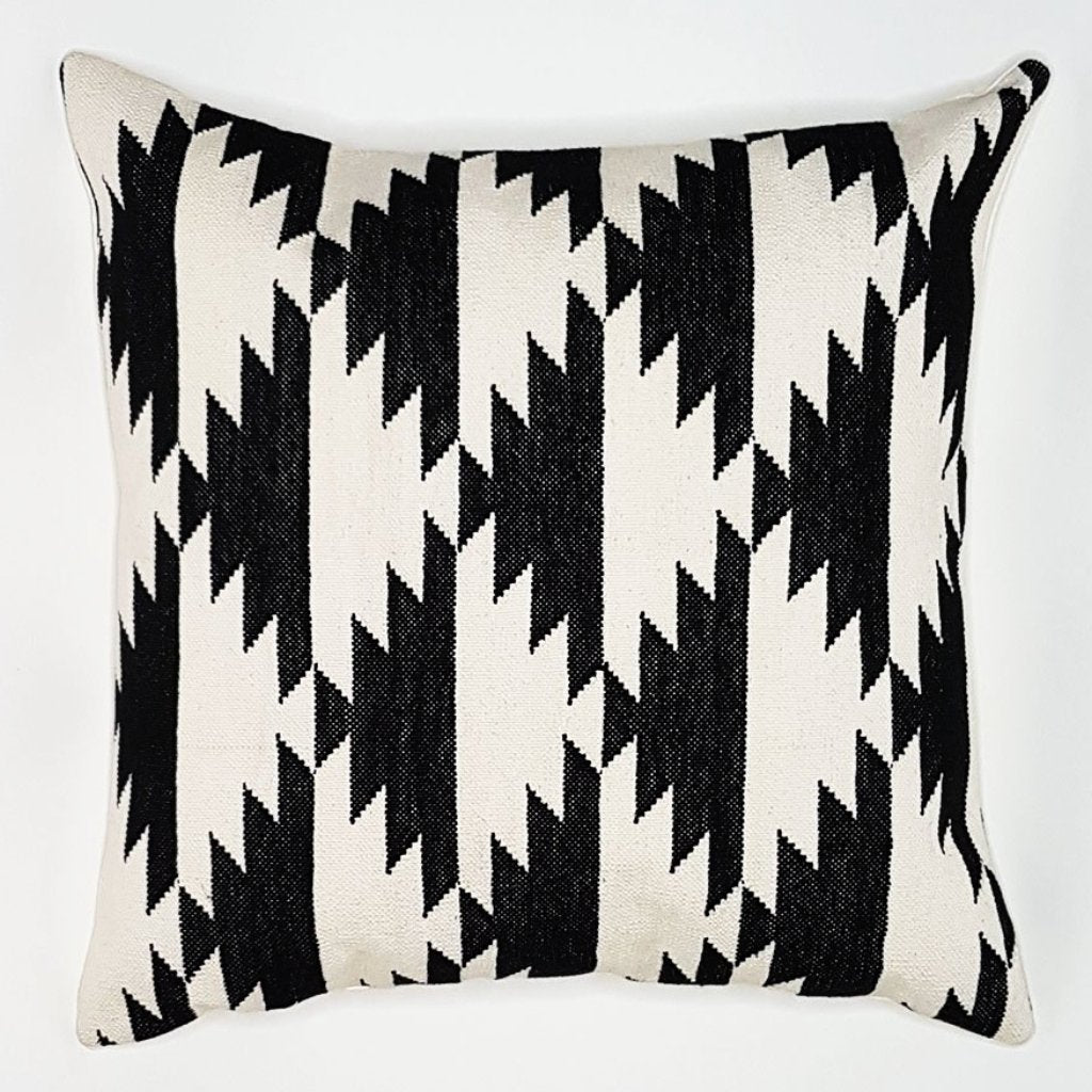hot haveli fabia dhurrie cushion monochrome side