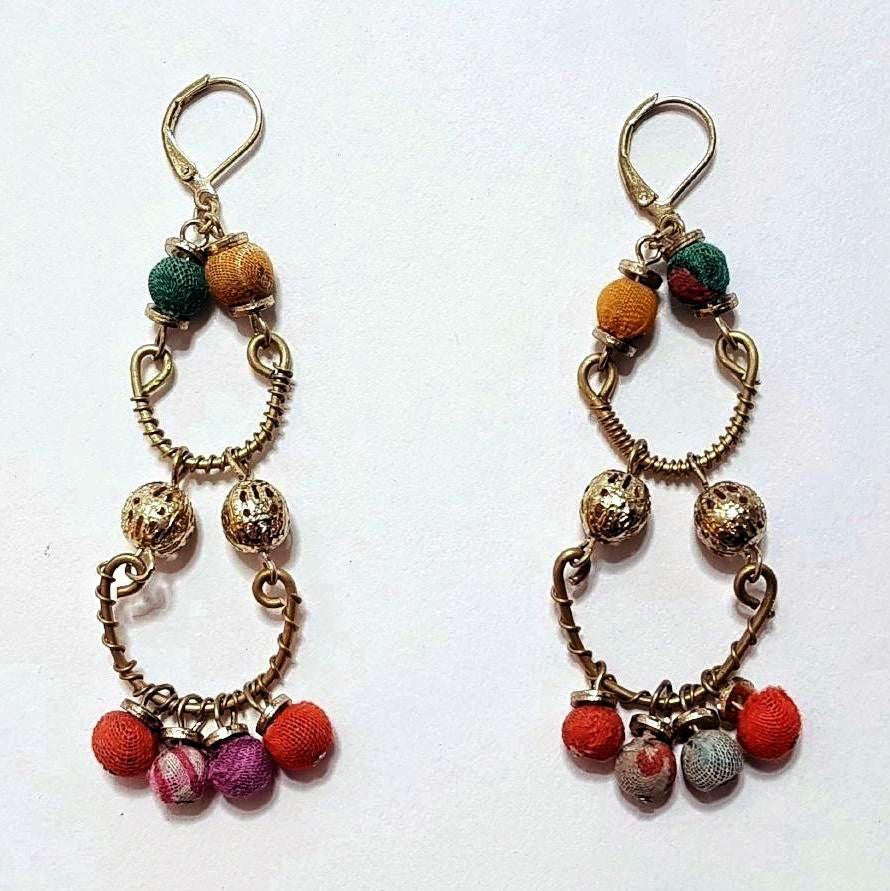 hot haveli quadira recycled sari earrings back