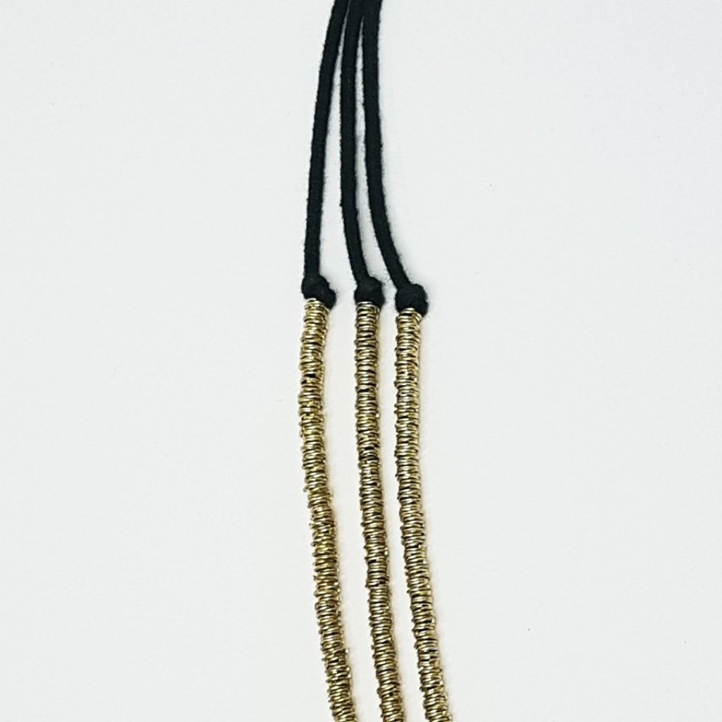 hot haveli basia three tier boho gold and charcoal necklace close up