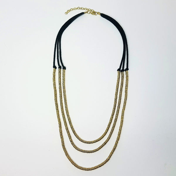 hot haveli basia three tier boho gold and charcoal necklace
