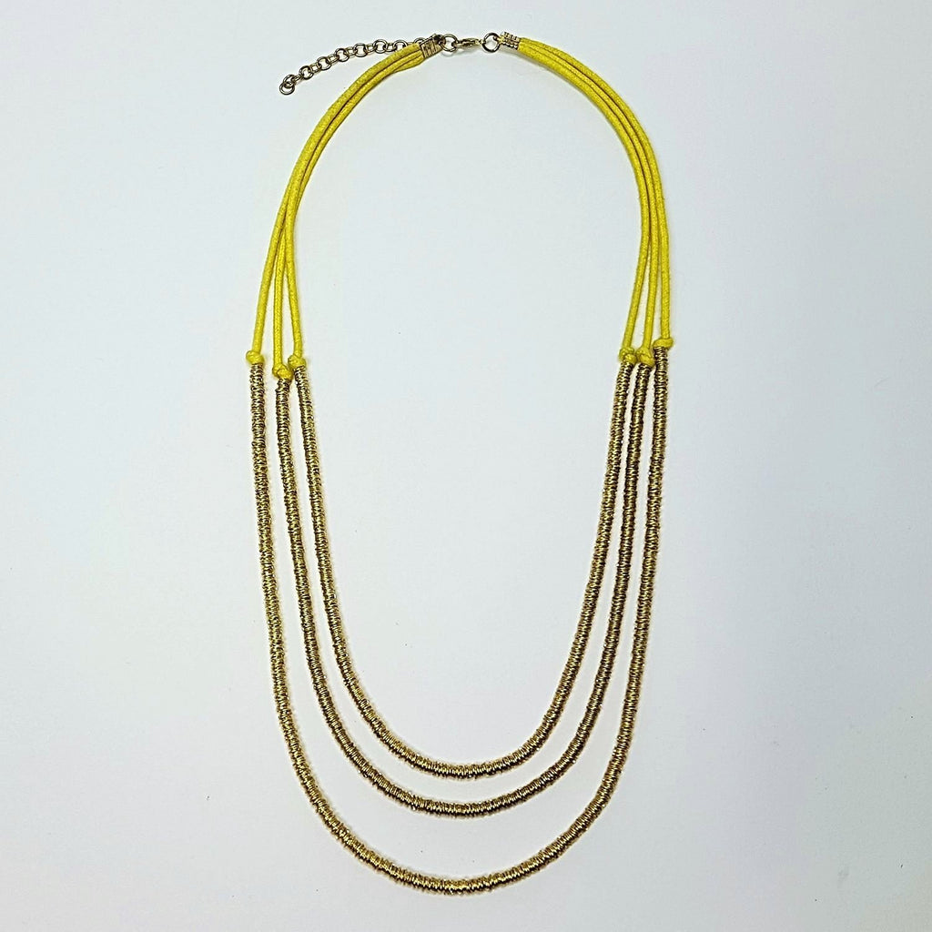 hot haveli basia three tier boho gold and yellow necklace