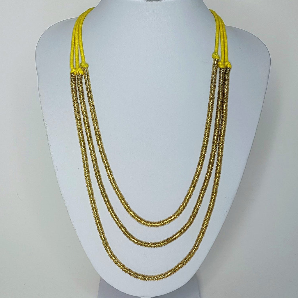 Basia Three Tier Handmade Necklace - Gold & Yellow