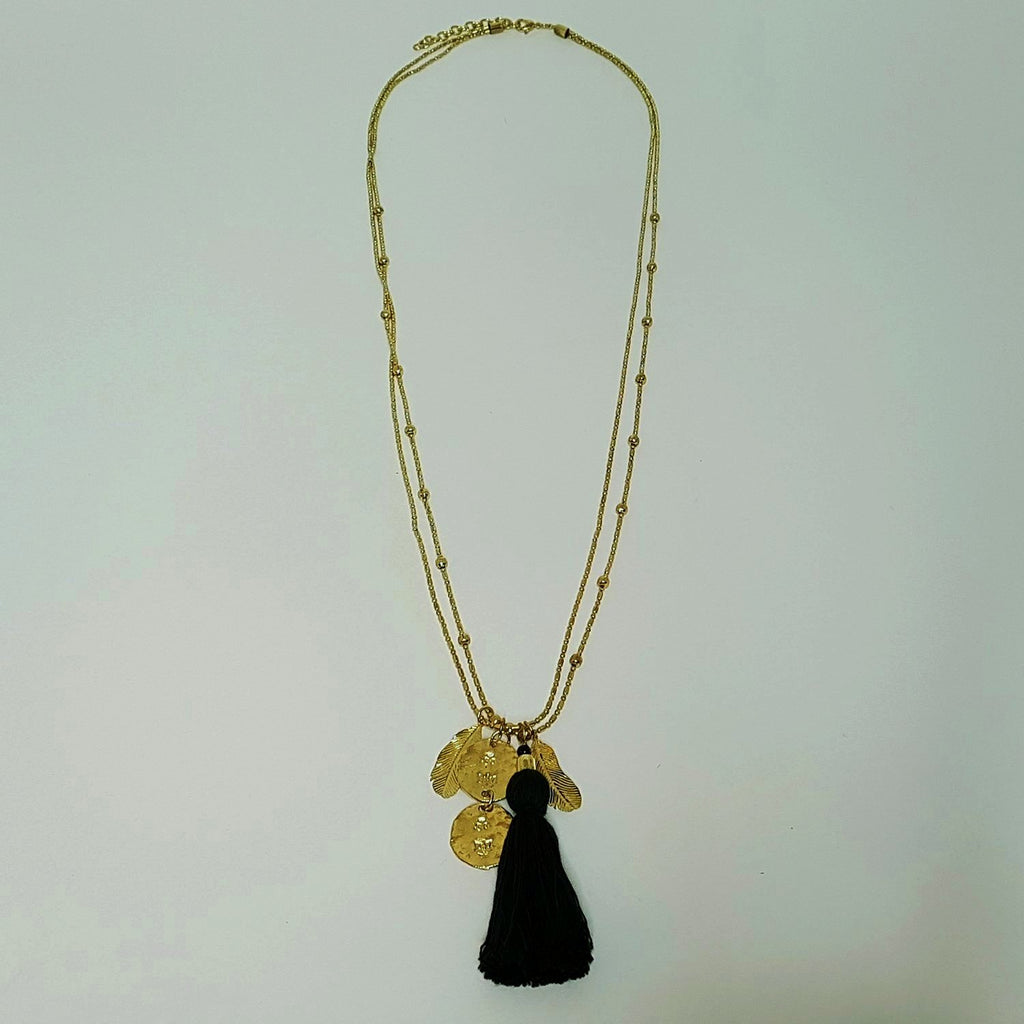 hot haveli georgia long black tassel boho necklace full