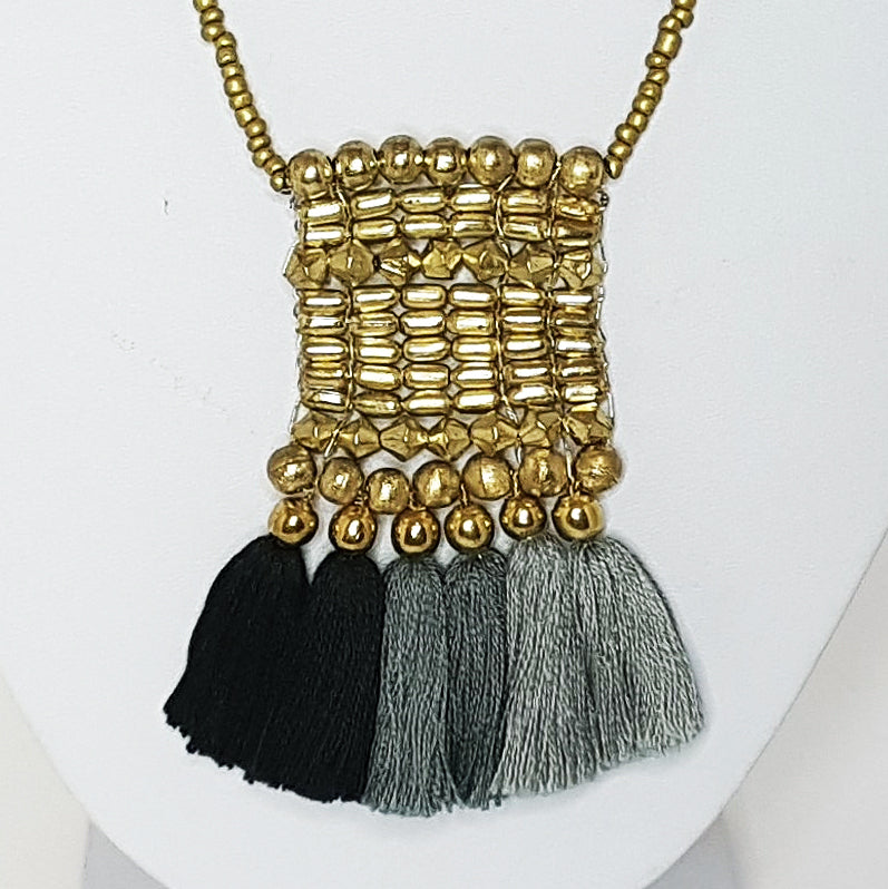 Kalena Beaded Boho Tassel Necklace - Gold & Charcoal