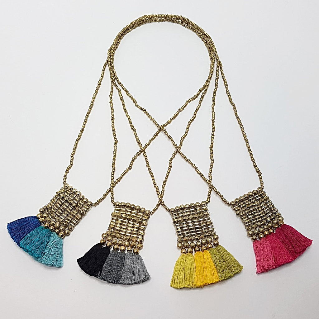hot haveli kalena boho cotton tassel necklaces all colours