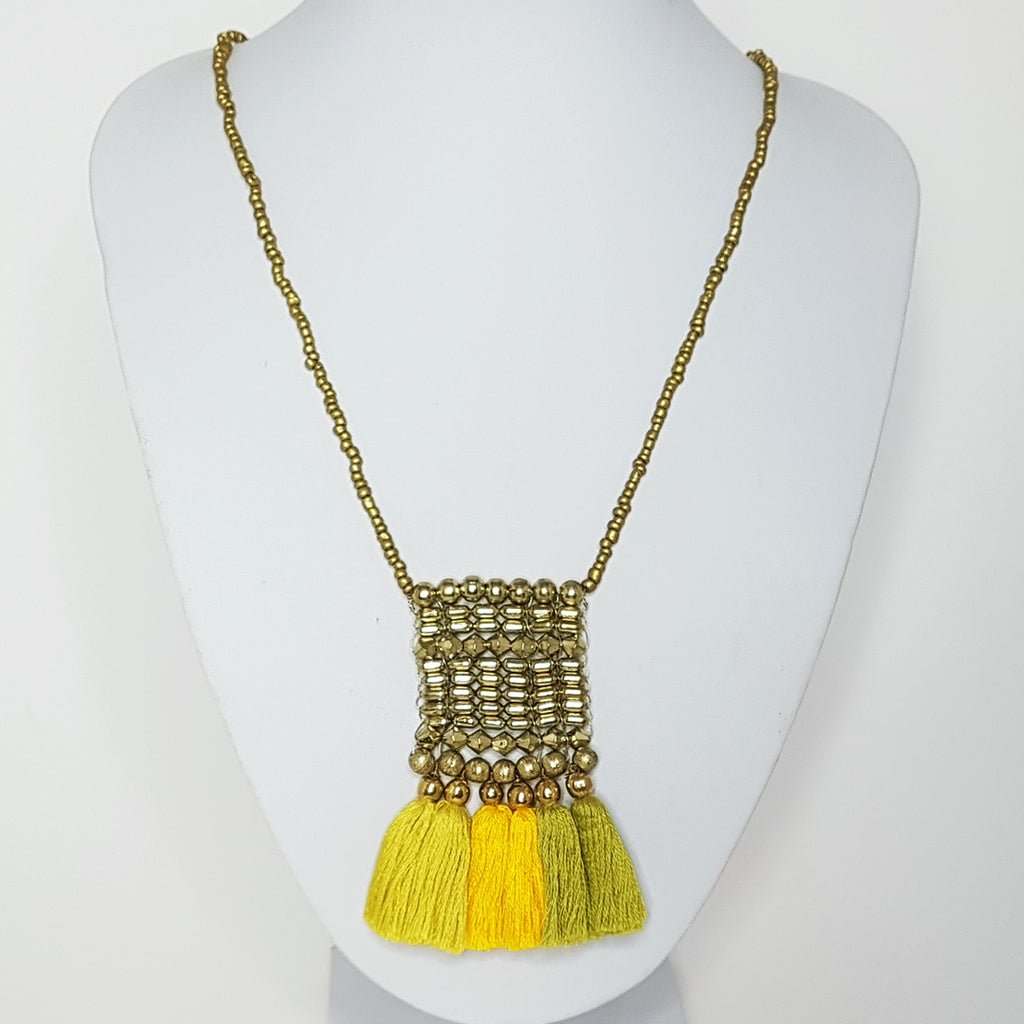 hot haveli kalena boho cotton tassel necklace mustard yellow