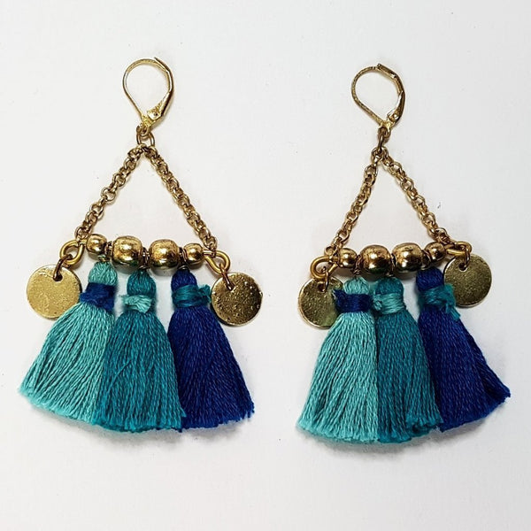 hot haveli kalena boho cotton tassel earrings blue