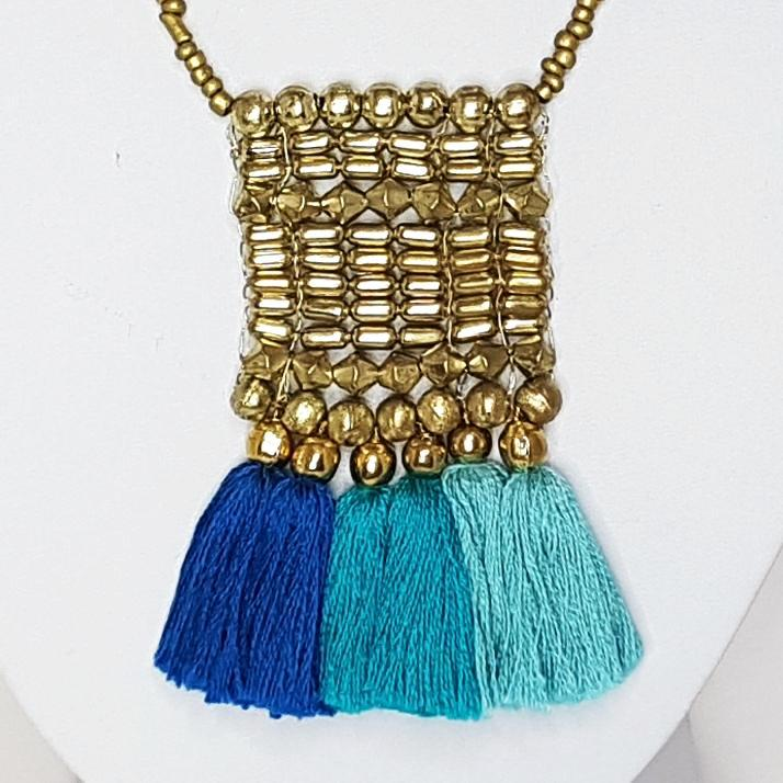 hot haveli kalena blue cotton tassel necklace close up