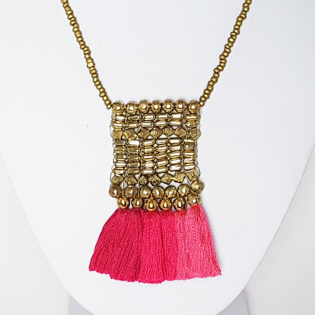 hot haveli kalena pink boho tassel necklace close