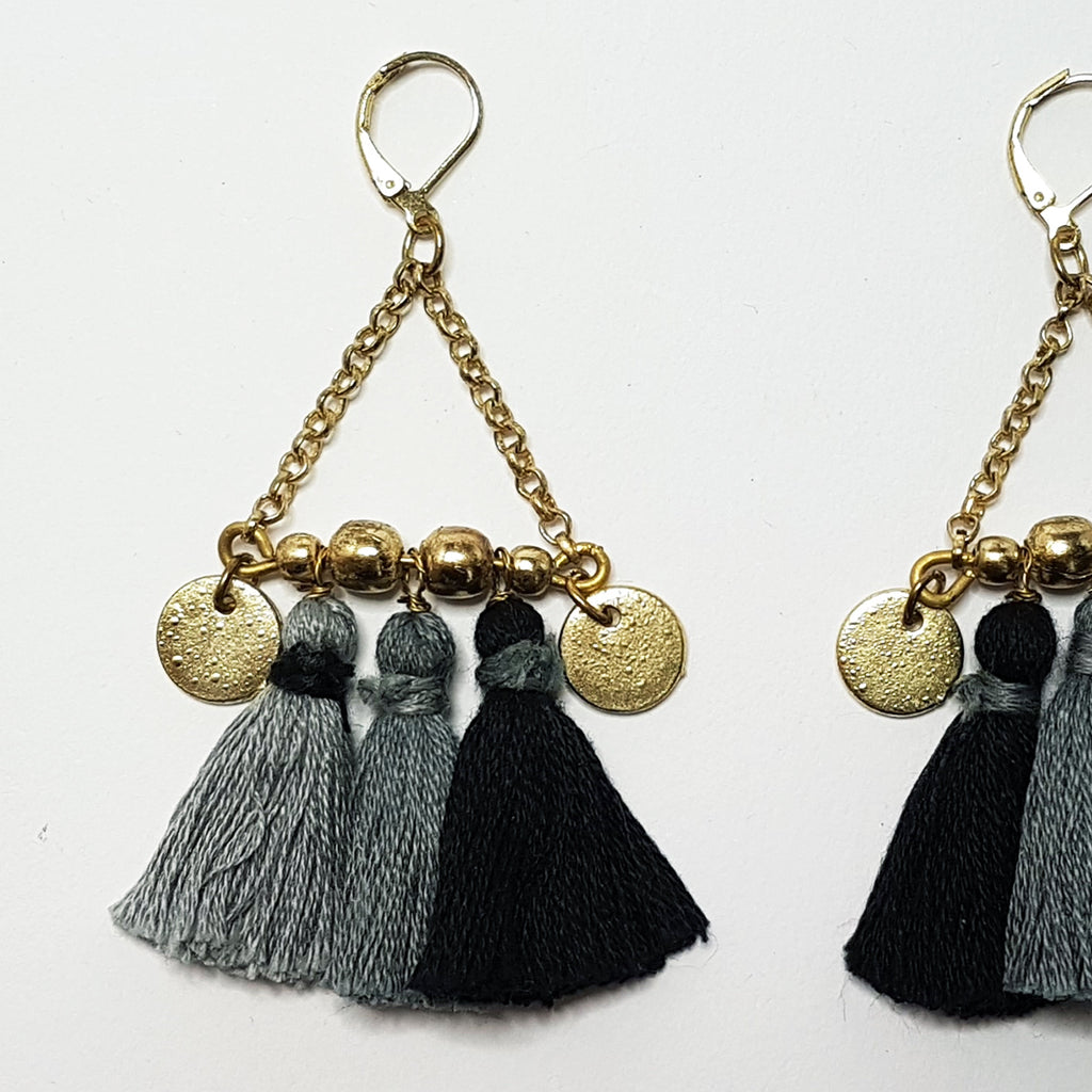 hot haveli kalena boho cotton tassel earrings charcoal close up