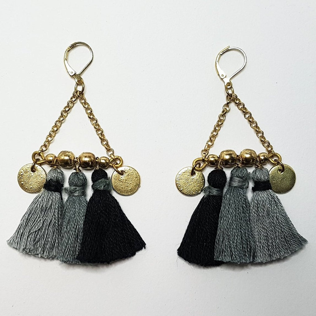 hot haveli kalena boho cotton tassel earrings charcoal