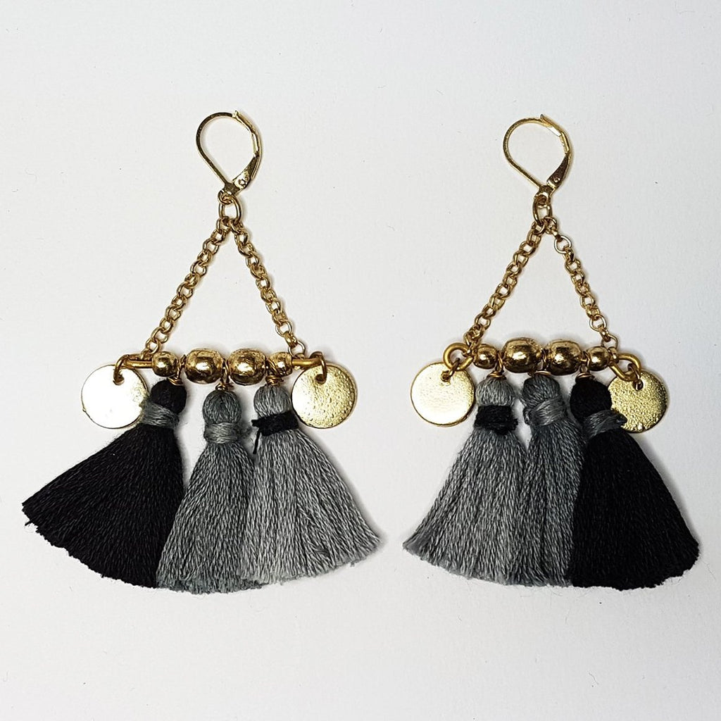 hot haveli kalena boho cotton tassel earrings charcoal back