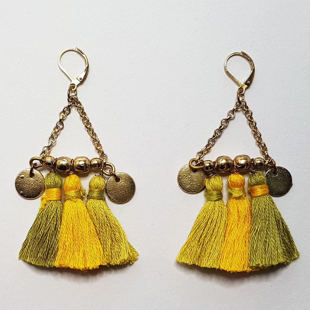 hot haveli kalena boho cotton tassel earrings mustard back