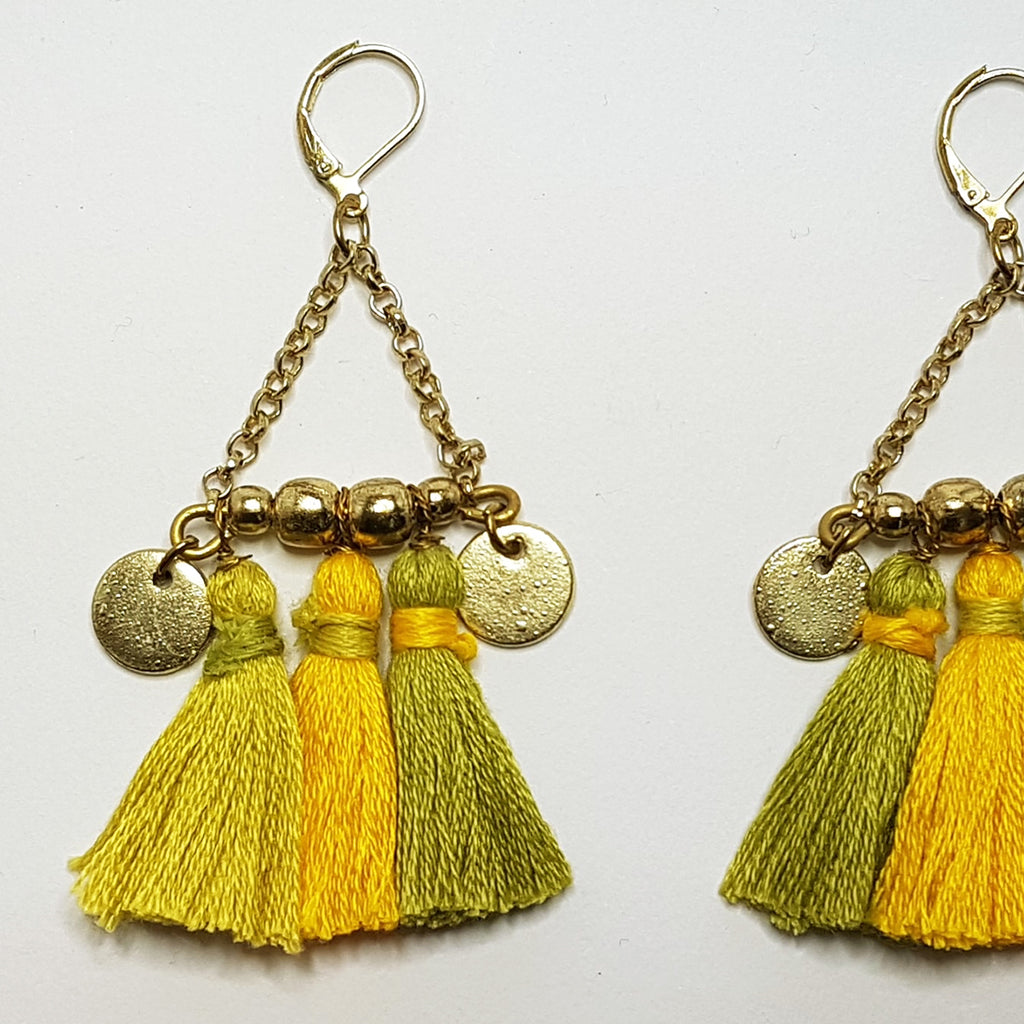 hot haveli kalena boho cotton tassel earrings mustard c;lose up