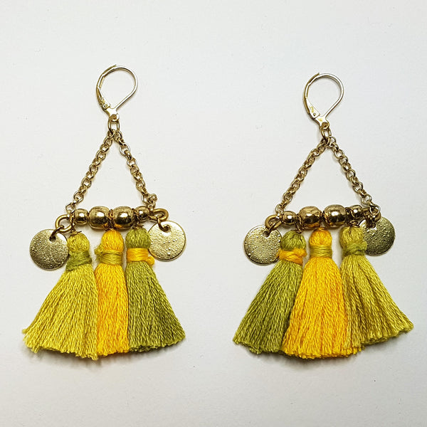 hot haveli kalena boho cotton tassel earrings mustard
