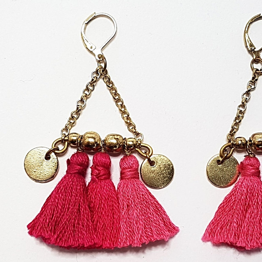 hot haveli kalena boho cotton tassel earrings pink close up