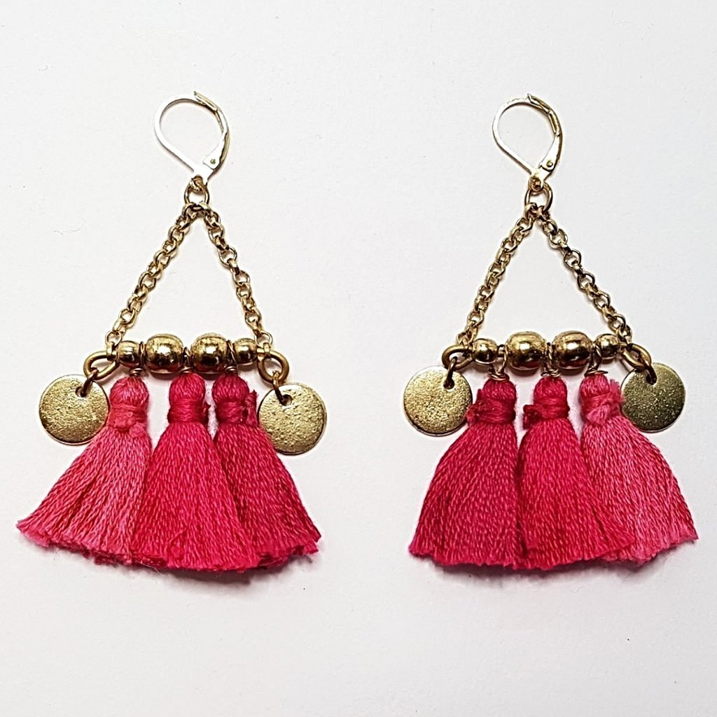 hot haveli kalena boho cotton tassel earrings pink