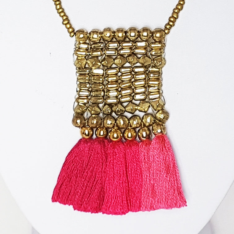 hot haveli kalena boho pink tassel necklace close up
