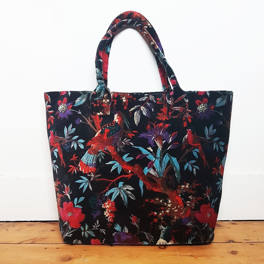 Libbie Velvet Paradise Birds Large Tote Bag - Black