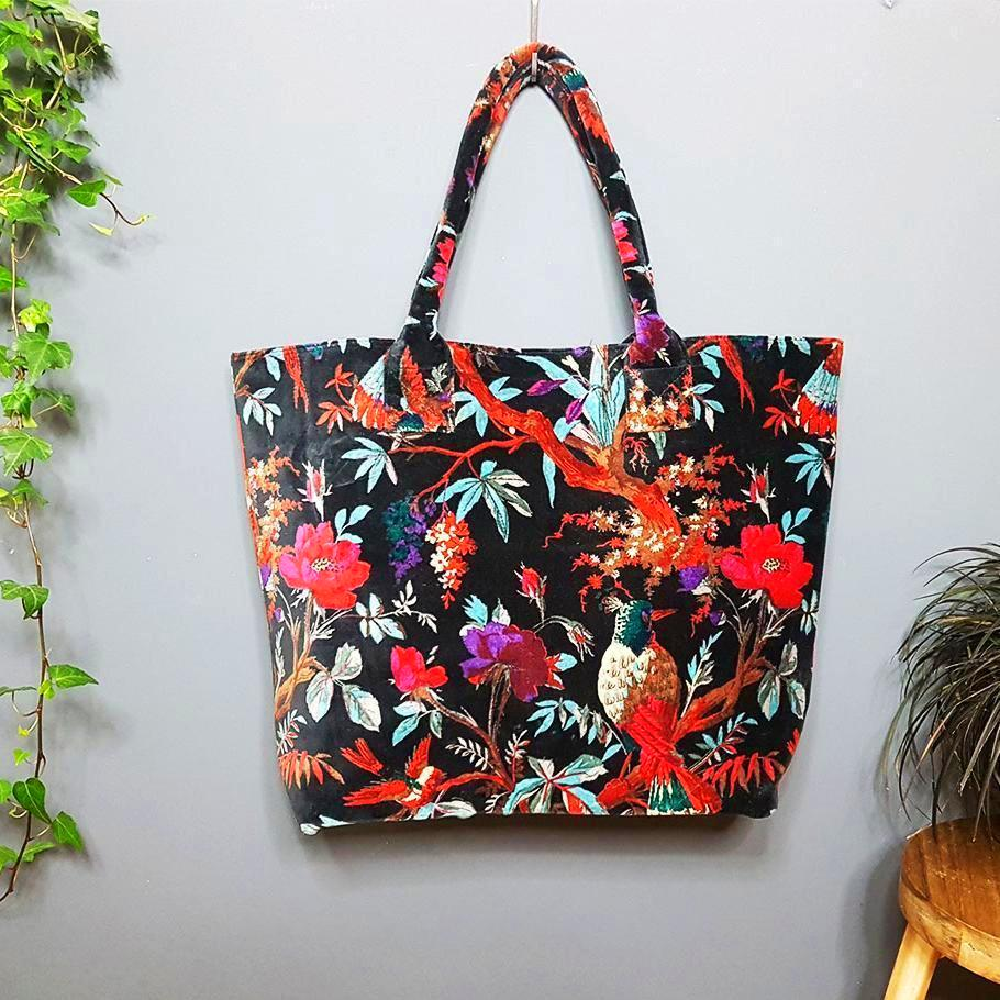 hot haveli libble cotton velvet hand screen print paradise tote bag black