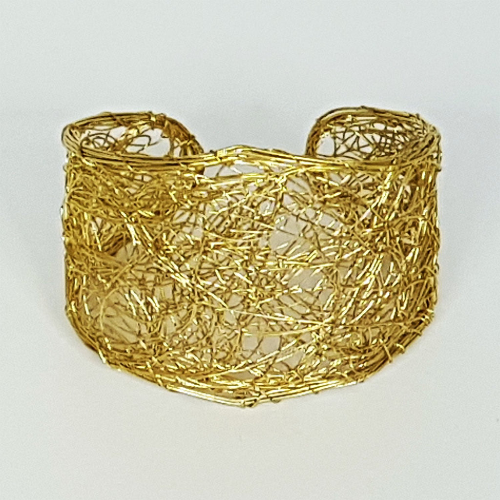 hot haveli madhuri wire art gold toned cuff bangle