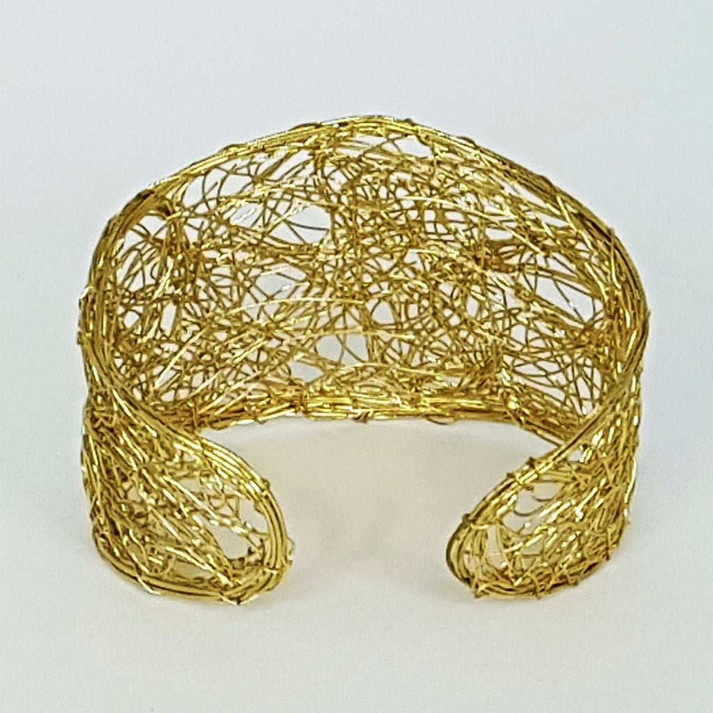 hot haveli madhuri wire art gold toned cuff bangle back