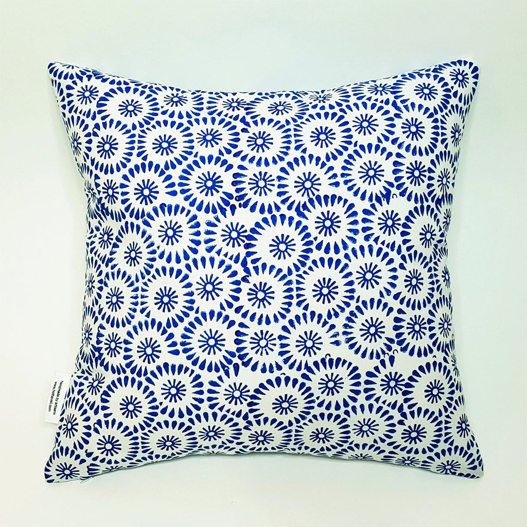 hot haveli petal hand block print cotton cushion back blue