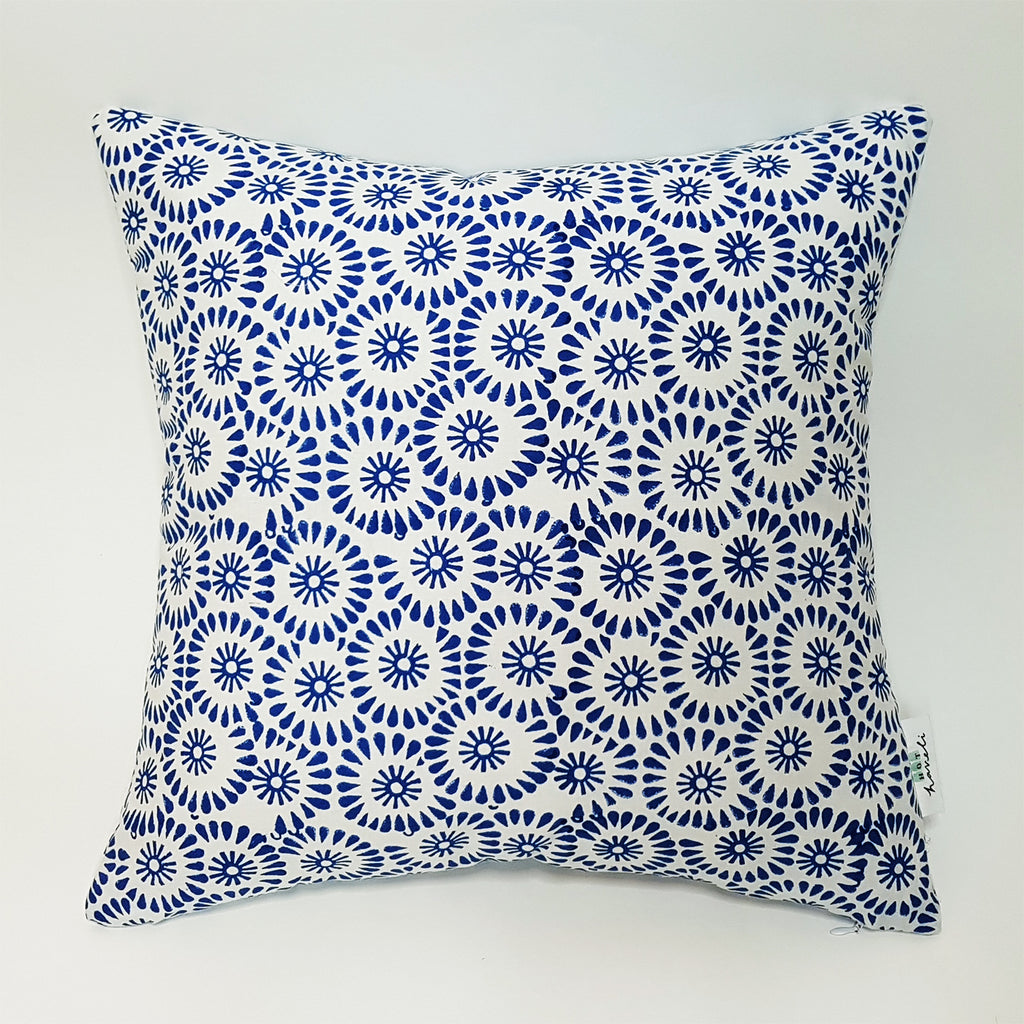 hot haveli petal hand block print blue cotton cushion