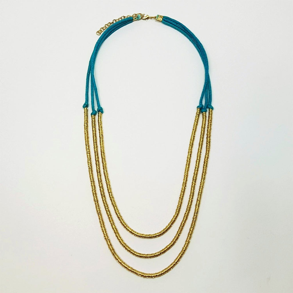 hot haveli basia three tier boho gold and teal turquoise blue necklace