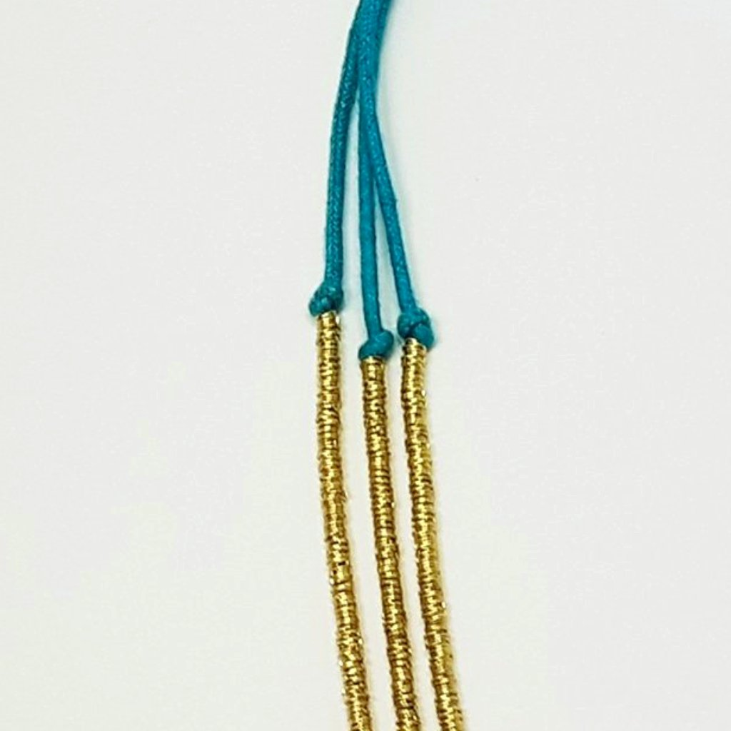hot haveli basia boho gold and teal turquoise blue necklace close up