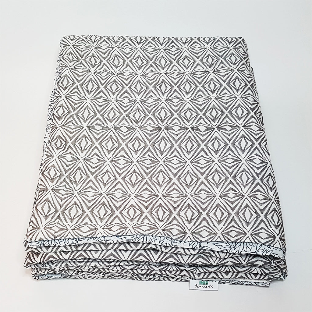 hot haveli xenia grey black hand block print bedspread